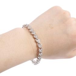 1 st Charm Crystal Armband kedja brud bröllopsgåva för kvinnor Silver
