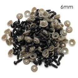 100st 6-12mm svarta säkerhetsögon av plast för tedy bear doll anima 6mm