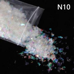 10g holografisk ab nagel klistermärke skal glittrande paljetter oregelbundna N10