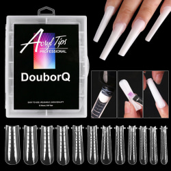 120st Clear Dual Forms Tips Nail System Full Cover Quick Buildi