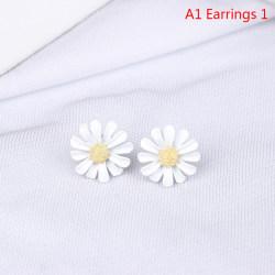 1 st emalj daisy blomma eleganta öppningsringar armband örhängen A1