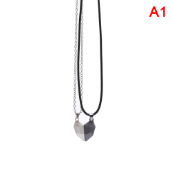 2st magnetiska par halsband älskare hjärta hänge charm halsband black and white 1