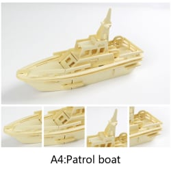 3D DIY trä pussel leksak tank fordon modell uppsättning kreativa pussel till A4:Patrol boat