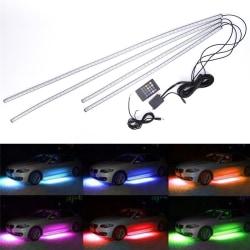 4st RGB LED Under Car Tube Strip Underbody Glow Neon Light Kit Multicolor
