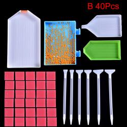 5D Diamantmålningsverktyg Tillbehör Kit Hantverk DIY Diamond M B 40Pcs
