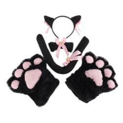 5st / set katt cosplay kostym katt svans öron krage tassar handskar se Black