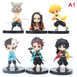 6st / set Anime Demon Slayer Kimetsu No Yaiba Figur Q Posket Fig A1