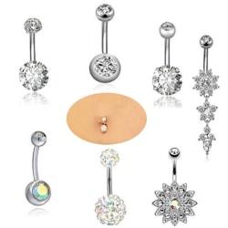 7PCS / Set rostfritt stål Crystal navelringar navel kropp Silver