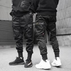 band harem joggare män lastbyxor streetwear hip hop fickor Black XL