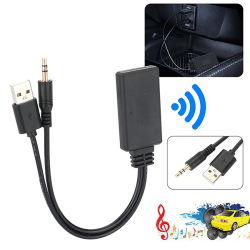 Bluetooth 5.0-mottagaradapter USB / 3,5 mm jack stereoljud för C Black