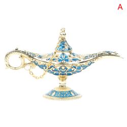 Craft Zinc Alloy Classic Metal Carved Aladdin Lamp Wishing Tea O Blue A
