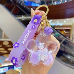 kreativa flytande flytande häst nyckelringar hållare sakura kvicksand Purple