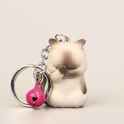 söt blyg katt nyckelringar knubbig kattunge nyckelring prydnadssäck ornamen Khaki
