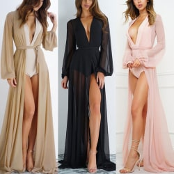 damer långärmad chiffong kimono strand kofta bikini täcka upp Black XL