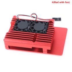 Dual Fans CNC-legeringsskal med kylflänsar för Raspberry Pi 4(Red with fan)