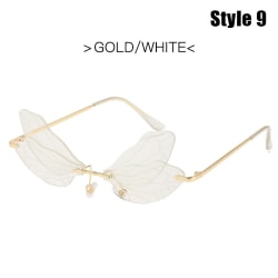Fashion Dragonfly Solglasögon Kvinnor Rimless Wave Eyewear Luxury T Style 9