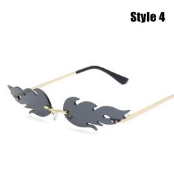 Mode Fire Flame Solglasögon Kvinnor Rimless Wave Eyewear Luxury Style 4