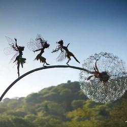 trädgård deco älvor och maskrosor dansa tillsammans metall gräsmatta lan P2