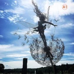 trädgård dekorativa stav älvor maskrosor dansa tillsammans metall A1