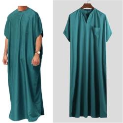 Jubba Thobe män islamiska arabiska Kaftan lösa kläder Abaya Middle M Green 4XL