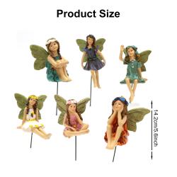 kekafu 6 st Fairy Garden Accessories Kit Garden Fairy Statue An Multicolor