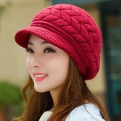 kvinnor stickad hatt vinter varm stickad baggy beret mössa hatt ski Wine red