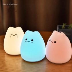 Little Cat Touch Sensor Control LED Night Lights Soft Silikon D 9*9*10cm