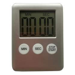 Magnet Klocka kök timer fyrkantig nedräkning väckarklocka sömn st Silver 7*6.5CM