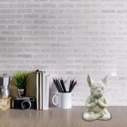 meditation bulldog skulptur djur yoga staty för kontor hem Gray