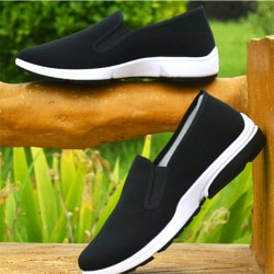 Män Slip On Loafers Canvas Fritidsbåtskor Flats Sneakers Dri 43