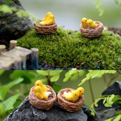 Mini rede med fåglar älv trädgård miniatyrer gnomer moss terrar