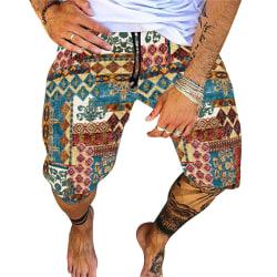 mode herrstrandshorts avslappnad elastisk tryckt bohemisk hawaii D 2XL