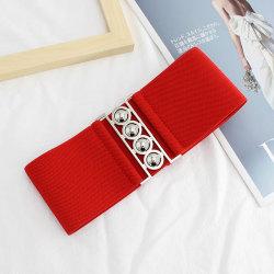mode kvinnor retro bälte elastisk midjeband klänning tillbehör gi Red