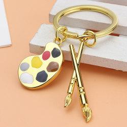målarpalett nyckelring handgjord pensel palett måla penna nyckelring Gold