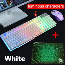 PC Laptop T6 LED Rainbow Backlight Usb Ergonomiskt Gaming Keyboar White