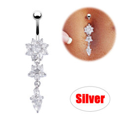 Piercing navel Nail Body smycken Flower Pendant Crystal J Silver
