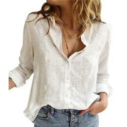 ren färg avslappnad lösblommig långärmad linneskjorta gray XL