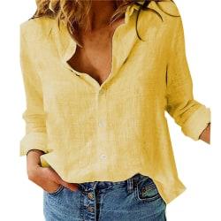 ren färg avslappnad lösblommig långärmad linneskjorta black XL