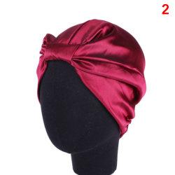 Silk Women Sleep Shower Cap Elastic Hair Care Bonnet Headwrap H 2