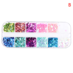 Sparkly Butterfly Nail Paljetter Mixed Glitters Flakes Skivor Art B