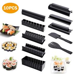 Sushi Making Kit för nybörjare-10 bitar Sushi Maker Tool Black