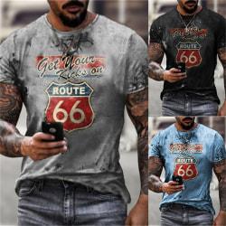 t-shirt sommar vintage t-shirts route 66 tryckt t-shirt kort s Blue 3XL