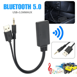 trådlös Bluetooth 5.0 hifi-adapter ljudmottagare för bil aux s Black
