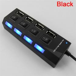 USB 2.0 Multi-Port Socket Four Ports Switch USB Hub Laddning Ch Black
