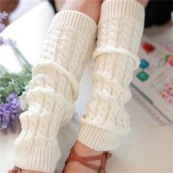 Kvinnors vinterstickade virkade stickade benvärmare Legging Boot Cov White