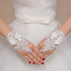1 par bröllopshandskar Fingerless Inläggningar Rhinestone Bowknot Brida White