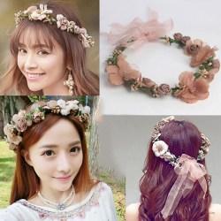 1st Kvinnor bröllop blommig krans hårband blomma huvudband hår g