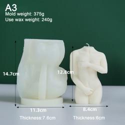 3D kroppsstearinljusform silikon vaxform DIY kvinnlig designkonst från