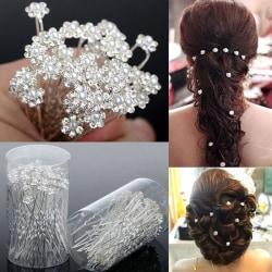 40 ST Bröllopshårnålar Crystal Pearl Flower Bridal Hairpins H 白K6钻珍珠(40支) 5.9cm