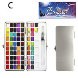 50/72 / 90färg fast akvarellfärg uppsättning bärbar metall låda wate C